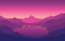 Mountains, lake, forest, trees, dusk, art picture