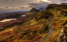 Montañas, camino, lago, nubes, puesta del sol, paisaje de la naturaleza