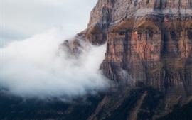 Mountains, rocks, cliff, fog, morning