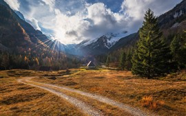 Mountains, trees, houses, path, village, clouds, sun rays