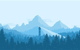 Preview wallpaper Mountains, trees, snowy, lighthouse, winter, art picture