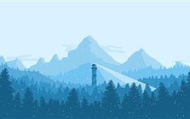 Montañas, árboles, nevoso, faro, invierno, imagen de arte