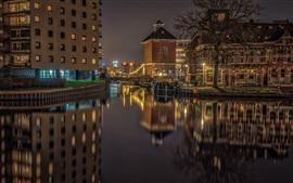 Preview wallpaper Netherlands, Groningen, night, bridge, lights, houses