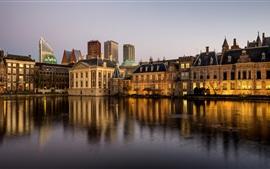 壁紙のプレビュー オランダ、ハーグ、住宅、川、夕暮れ