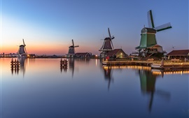 Netherlands, windmill, river, water reflection, dusk