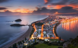 Preview wallpaper New Zealand, Tauranga, city, top view, lights, dusk, sea