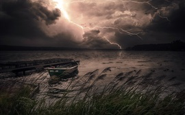 Night, lake, boat, lightning, storm