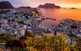 Preview wallpaper Norway, Alesund, city, sea, sunset