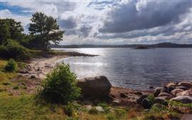 Noruega, Hasla, lago, árboles, piedras, nubes