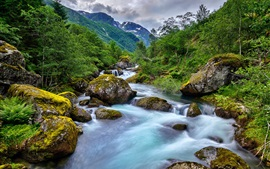 Preview wallpaper Norway, mountains, creek, stones, beautiful nature landscape