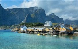 Noruega, cais, casas, mar, montanhas