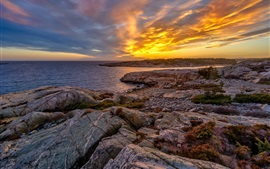 Preview wallpaper Norway, sunset, coast, sea