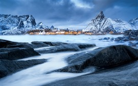 Preview wallpaper Norway, village, mountains, snow, winter