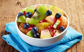 Preview wallpaper One bowl of fruit salad, kiwi, apple, blueberry