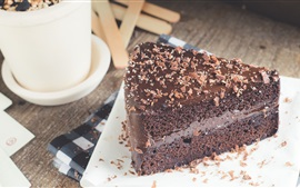 Preview wallpaper One slice chocolate cake, food