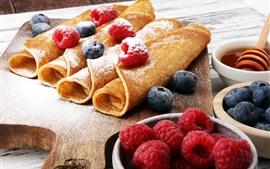 壁紙のプレビュー パンケーキ、ラズベリー、ブルーベリー、食品