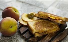 Melocotón, sándwich, pan, comida