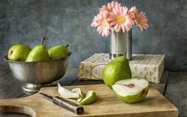 Груши, фрукты, цветы, нож, натюрморт