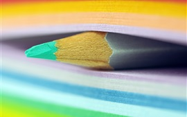 Preview wallpaper Pencil, book, colorful pages