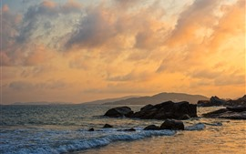 Perfume Bay, Hainan, China, sea, coast, rocks, clouds, sunset