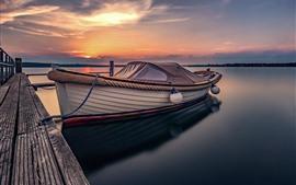 Muelle, bote, lago, puesta de sol