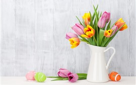 Preview wallpaper Pink and orange tulips, vase, Easter eggs