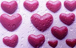 Preview wallpaper Pink love hearts, water droplets, design