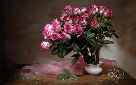 미리보기 배경 화면 핑크 장미, 꽃병, 실크