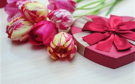 Preview wallpaper Pink tulips, love heart, gift