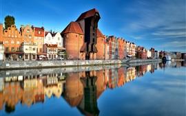 Polonia, ciudad vieja, Gdansk, río, ciudad, casas