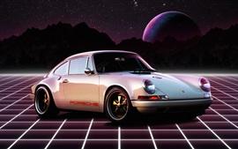 Coche retro Porsche 911 1980, planeta