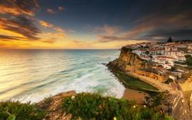 Portugal, Sintra, mar, ciudad, costa