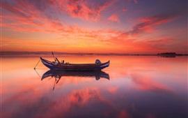 Portugal, mar, pôr do sol, barco, céu vermelho