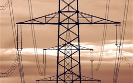 Preview wallpaper Power lines, metal tower