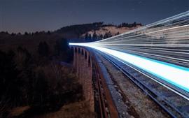 Ferrocarril, tren, líneas de luz, noche