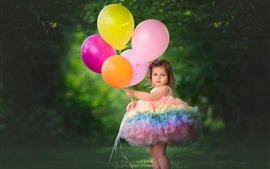 Preview wallpaper Rainbow color skirt girl, colorful balloons