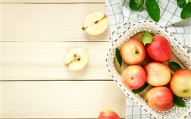 Preview wallpaper Red apples, fresh fruit, basket