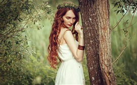 Preview wallpaper Red hair girl, curls, back view, tree