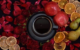 Preview wallpaper Red roses, pomegranate, pear, dry lemon slice, cup, coffee