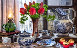 Preview wallpaper Red tulips, cupcakes, lamp, kettle, tea, cup, still life