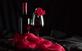 Preview wallpaper Red wine, rose, silk, romantic