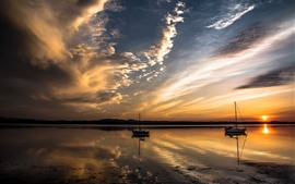 River, sunset, clouds, boats