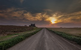 Road, fields, hut, clouds, sunset