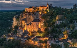 Preview wallpaper Rocamadour, France, city, night view, lights