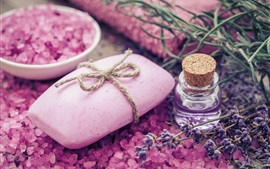 Preview wallpaper SPA theme, soap, pink salt, oil, lavender
