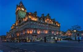Preview wallpaper Scotland, Edinburgh, Balmoral Hotel, city, road, night
