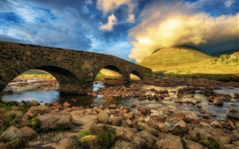 Preview wallpaper Scotland, Isle of Skye, bridge, stones, clouds