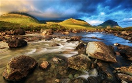 Preview wallpaper Scotland, Isle of Skye, rocks, stream, water, blue clouds