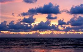 Mar, nuvens, pôr do sol, paisagens da natureza
