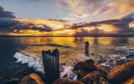 Mar, costa, rochas, nuvens, pôr do sol